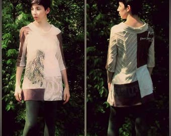 S women's upcycled tunic top in off white and brown, half sleeves.