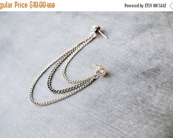 SALE Silver Rose and Gunmetal Chains Triple Chain Cartilage Earring (Single-Side)
