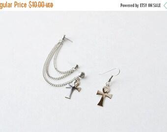 SALE Silver Ankhs Multi-Pierce Cartilage Earrings (Pair)