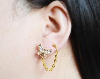 Gold Butterfly Double Pierce Cartilage Earrings (Pair)