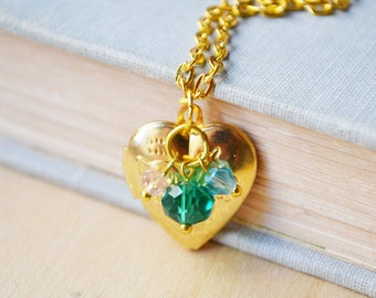 Gold Heart Locket Customized Photo Necklace with Green, Pink and Blue Beads