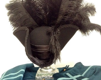 Gothic Steampunk black rococo high sided pirate Tricorn hat