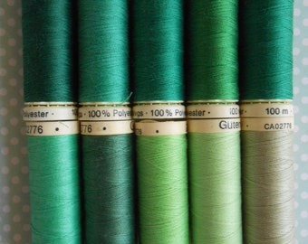 Gutermann sew-all Thread 10 Spools Assorted Green