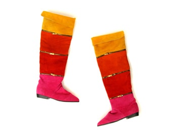 Vintage 1980's Clicks Avant Garde Zipper Colorblock Over The Knee Suade Cuffed Tall Flat Boots 9 NOS
