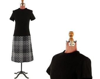 Vintage 1960's Black Wool Knit Drop Waist Polka Dot Abstract Winter Shift Dress M