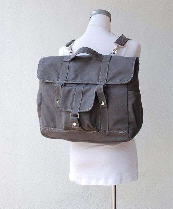 Christmas in July SALE- Pico2, Backpack in Grey -  Laptop Backpack, messenger Backpack , Canvas Satchel Rucksack, School Backpack, 40%
