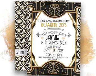 Roaring 20s invitation-Great Gatsby Invitatio -30th birthday invitation-1920s -Art Deco invitation-30 year old-vintage invitation-PRINTABLE