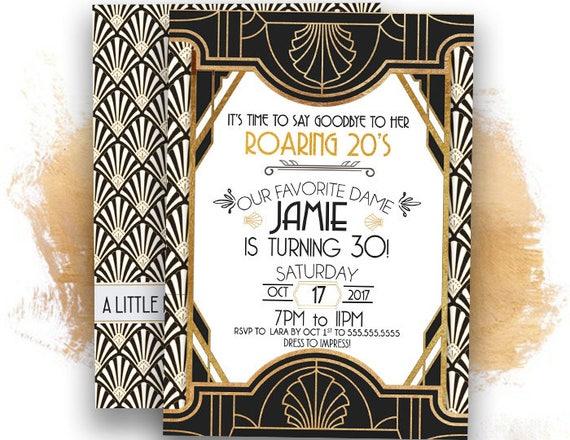 Roaring S InvitationGreat Gatsby Invitatio Th Birthday - Birthday invitation 30 years old