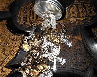 30 Mixed Milagros Gold Silver in a Tin Miracles Charms