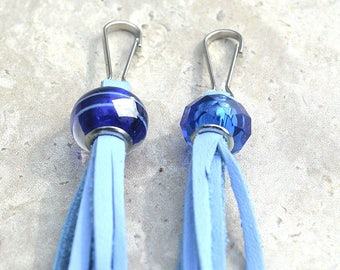 Leather Tassel Zipper Pulls/ Set of 2/ Zipper Sliders/ Purse Charms/ Leather Accessory/Ready to Ship
