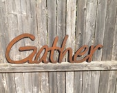 Word Art, Gather, Wall Art, Metal word, sign