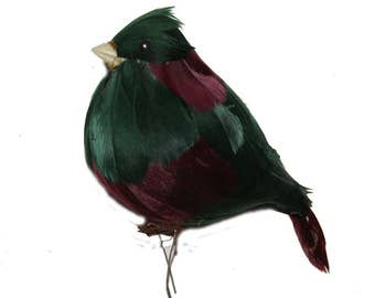 1 Pc 7 Inch Green and Burgundy Bird, Feather Bird, Holiday Bird (Major)