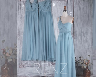 2016 Long Dusty Blue Bridesmaid Dress, Mix and Match Wedding Dress, Mismatch Chiffon Prom Dress, Maxi Dress Floor Length (H217/H218/H219)