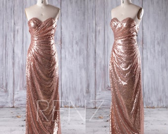 2016 Rose Gold Sequin Bridesmaid Dress, Ruched Asymmetric Wedding Dress, Sweetheart Prom Dress, Strapless Ball Gown Floor Length (CQ020)