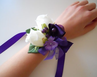 Ivory Roses Wrist Corsages with Purple Lilac Accent