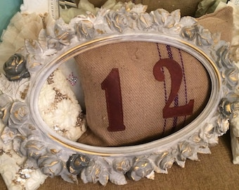 Vintage framed mirror, French Nordic, shabby chic roses, multi grey chalk paint