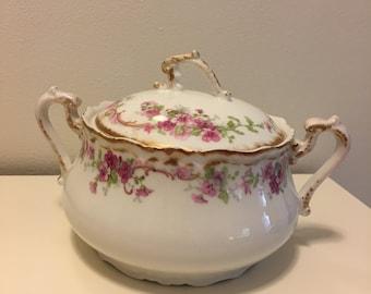 Antique Pink Floral Limoges Covered Serving Bowl