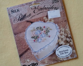 Vintage Silk Ribbon Embroidery Kit, Forget Me Knot Heirloom Gift Box, Bucilla 41166, new in package NIP, 100% silk ribbon
