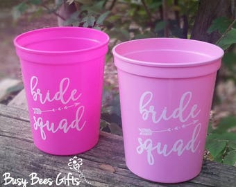 Bride Squad Cups * Bachelorette Party Cups * Bachelorette Party * Bridal Shower * Party Favors * 16 oz. Plastic Stadium Cups * FREE SHIPPING