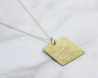 Slow Fashion Jewellery Brass Hammered Square Necklace handmade in Sydney from recycled metal using sustainable processes : BsqNlH