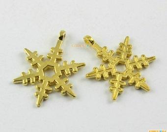 20Pcs Gold Snowflake Charm Snowflake Pendant 23x18mm (PND1408)