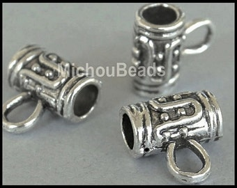 2  SILVER Tibetan Style Charm HOLDER Bail Beads - Antiqued Silver 10x6mm Tube with Loop and 3mm Hole -  Wholesale USA Seller - 5385