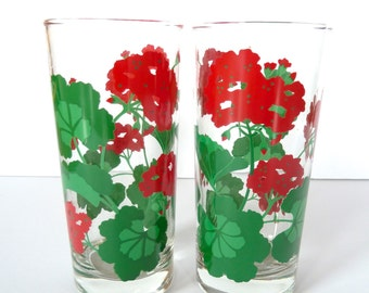 Vintage Avon Green and Red Geranium Summer Fantasy Glassees