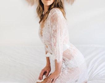 BFF SALE - Bridal Lace Robe, Boudoir Photography, Honeymoon Lingerie