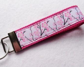 Key Fob/ Wristlet/ Keychain/Pink / Cherry Blossom print  /Ready to Ship