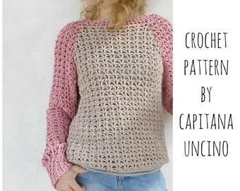 PDF-file for Crochet PATTERN, Valentina Pullover, Sweater, 4 different Sizes: XS-L, fast and easy project!