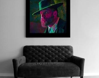 Peaky Blinders Art Canvas wall  Print, Alfie Solomons Portrait,  Large Colorful Artwork, Wall hanging, Peaky blinders Gift, limited print