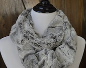 Faux Fur Infinity Scarf  - Gray and Black Textured Minky - Warm and Soft - Animal Print Double Loop Scarf - Cowl - Winter Scarf