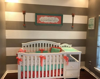 """Custom baby bedding """"Blakely"""" 6 pc bedding set mint and coral with ruffled crib skirt"""
