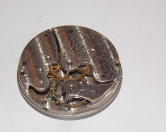 Antique 29mm Etched Pocket Watch Movement