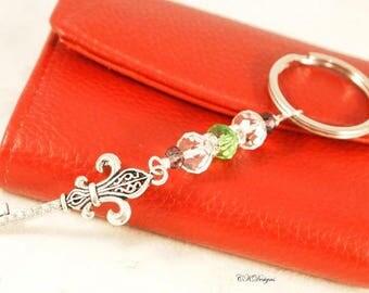Fleur De Lis Key Ring, Elegant Beaded Charm Key Chain. Gift for Her, Decorative Key Chains, OOAK Handmade Key Ring. Paris Themed