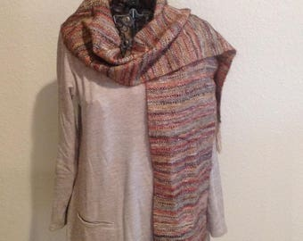 Handwoven Scarf ~ Tan/browns/reds