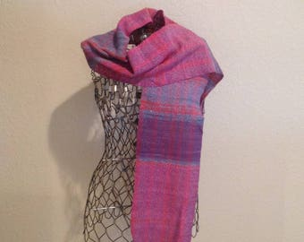 Handwoven Scarf ~ Pinks/Blues/Purples