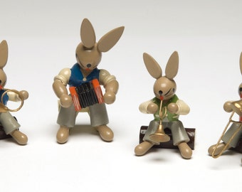Vintage Erzgebirge Rabbits in a 4 piece band Miniature German rabbits Made Germany 1950s