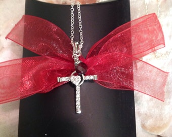 Sterling Silver CZ Cross Garnet Necklace