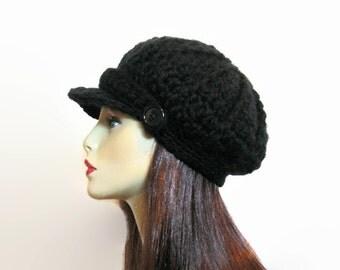 Crochet Newsboy Hat Black Newsboy Hat  Black Hat with Visor Adult Newsboy Black Cap Crochet News boy Black Hat with Visor Black Crochet Hat