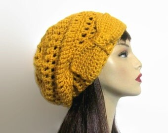 Mustard Slouchy Beanie with Bow Gold Crochet Hat Slouch Hat with Bow Knit Slouch Hat Crochet Gold Beanie Mustard Slouch Cap Mustard Beret