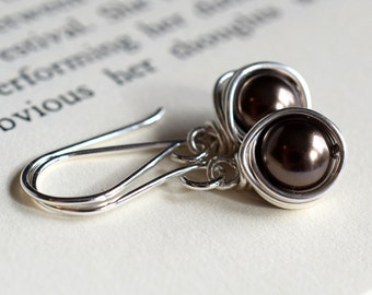 Brown Pearl Earrings, Swarovski Pearl Earrings, Sterling Silver Earrings, Wire Wrapped Pearl Earrings, Chocolate Brown, Dark Brown Pearl