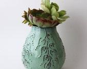 Rustic Aqua Vase - Modern Home Decor - Handmade One of a Kind - READY TO SHIP