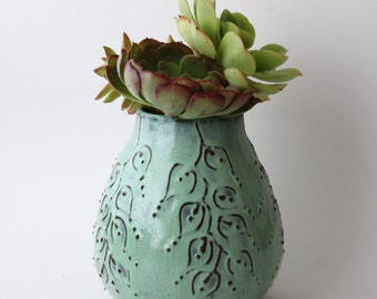 Rustic Aqua Vase - Modern Home Decor - Handmade One of a Kind - READY TO SHIP