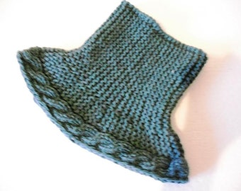 Knit women scarf Knit cowl scarf Turquoise women scarf Chunky scarf Wool scarf Warm knit scarf Winter knit scarf Crochet scarf