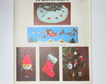 Vintage Viking Christmas 1 Retro Wallhanging Of Santa And Sleigh - Tree Skirt - Christmas Stockings - Ornaments - Stuffed Santa - UNCUT