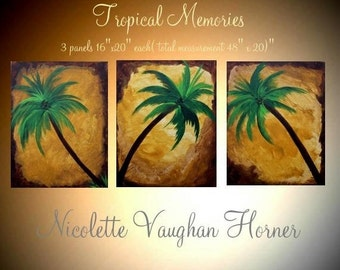 SALE Oil Landscape painting Abstract Original Modern palette knife 3 Panels Tropical  Palm Treesimpasto oil painting by Nicolette Vaughan Ho