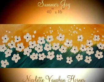 "SALE ORIGINAL 40""Abstract Acrylic gallery canvas-Contemporary Modern Palette Knife Impasto painting ""Summer Joy"" by Nicolette Vaughan Horner"