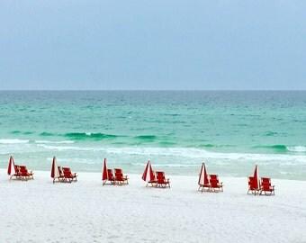 Beach Chair Art Print | Red Beach Chair Photo | Blue Ocean Wall Art | Minimalist Seascape Decor | Calm Coastal Art Print | Beach House Decor