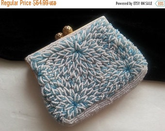 Blue White Flowered Clutch Handbag * Beaded Antique Evening Bag * 1940's 1950's Collectible Purse